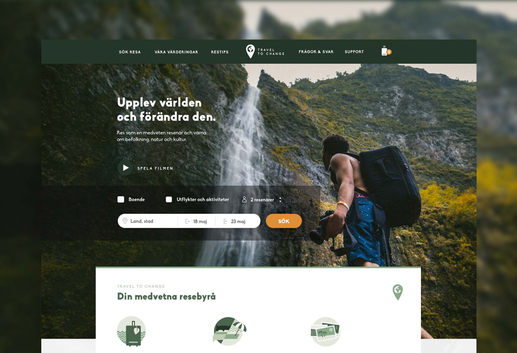 Eco friendly travel website UX design