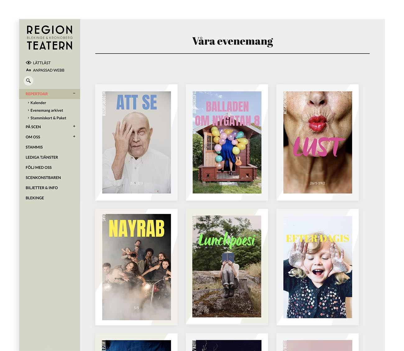 Teater website design development